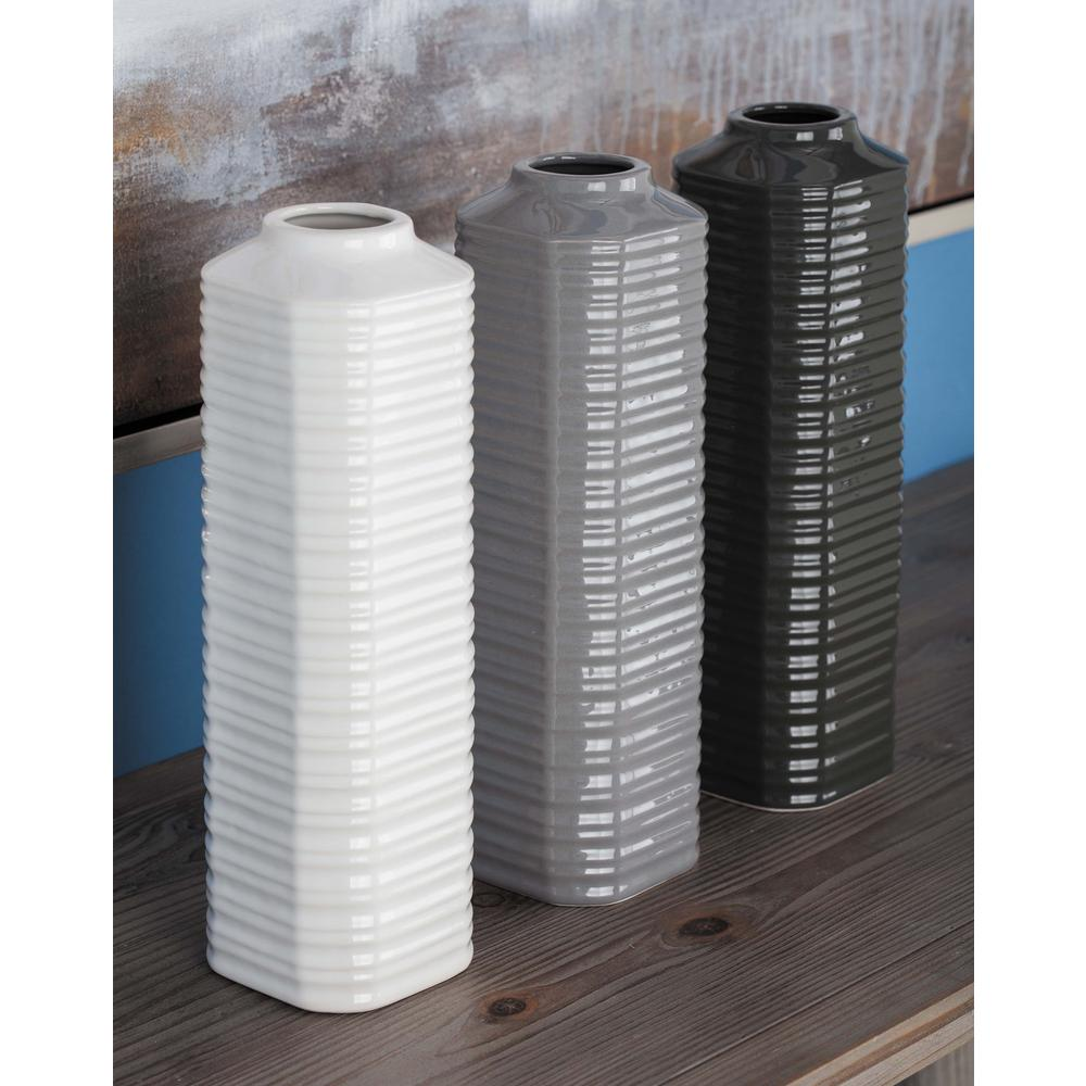 13 in. Ribbed Ceramic Decorative Vases in Gray, White and Black