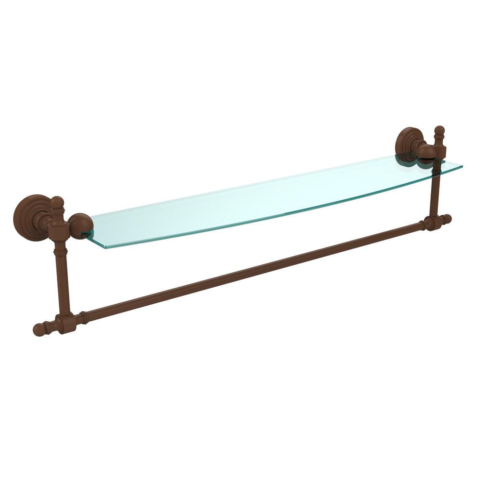 Retro Wave Collection 24 in. Glass Vanity Shelf with Integrated Towel