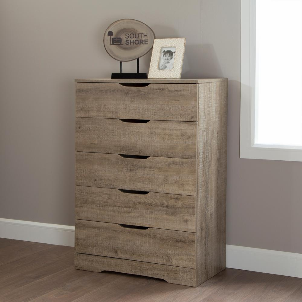 Holland 5-Drawer Chest in Weathered Oak