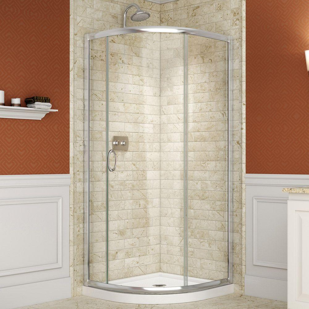 Solo 34-3/8 in. W x 34-3/8 in. D x 72 in. H Framed Sliding Shower Enclosure in Chrome