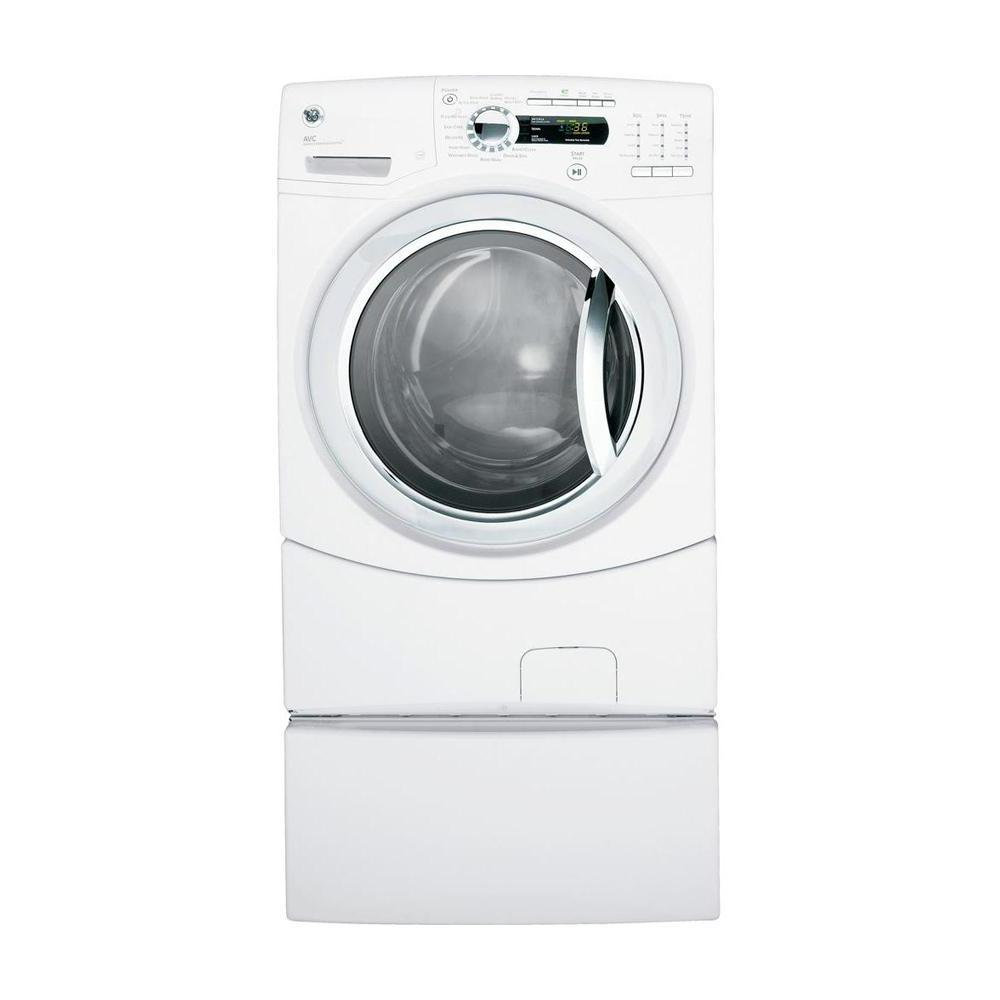 GE 4.1 DOE cu. ft. Front Load Washer with Steam in White (Pedestal Sold Separately)