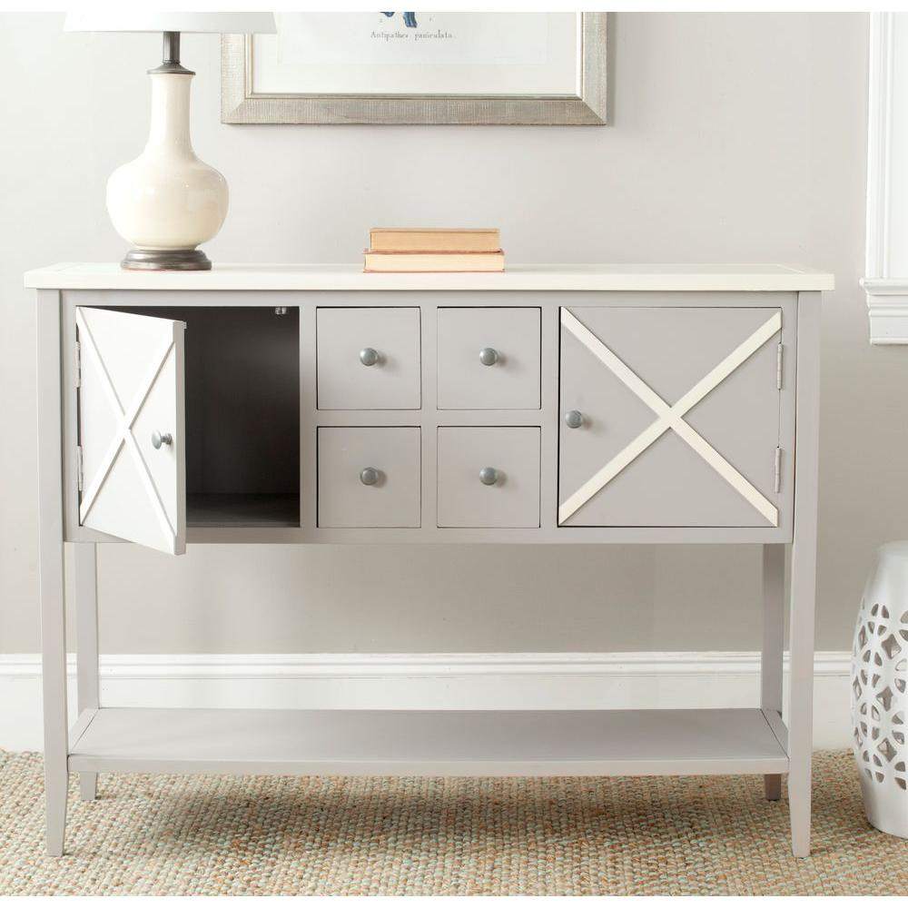 Safavieh Adrienne Poplar Wood Sideboard in Gray and White