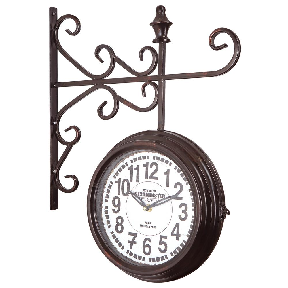 yosemite home decor 16 in x 20 in double sided iron wall clock with glass in black iron frame clkba160 the home depot - Yosemite Home Decor