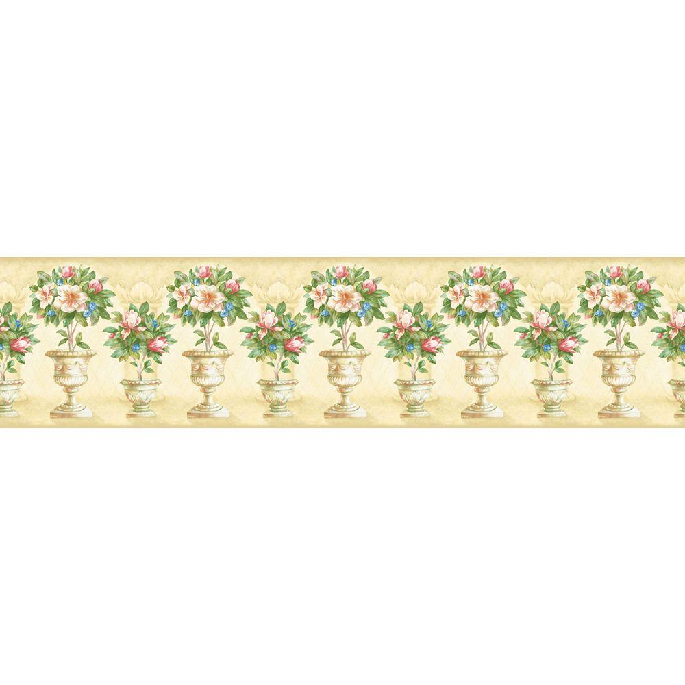 The Wallpaper Company 5.13 in. x 15 ft. Pastel Floral Topiary Border