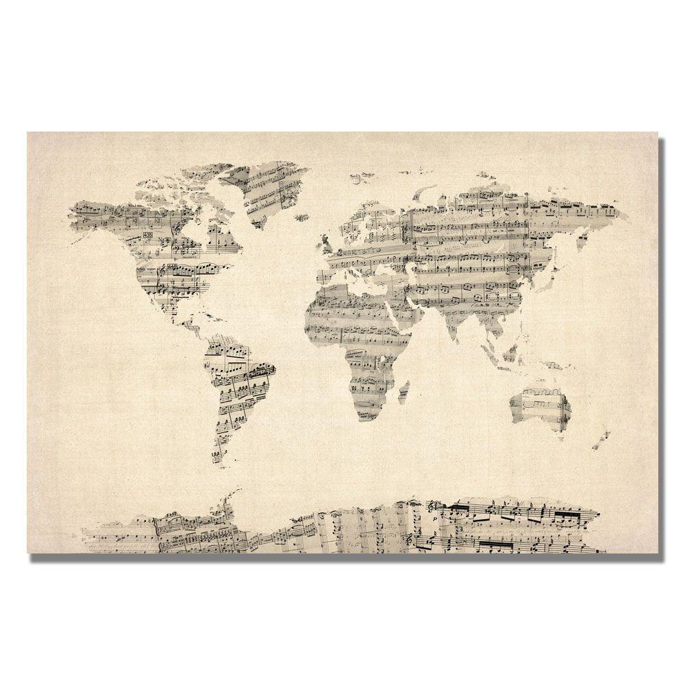 30 in. x 47 in. Old Sheet Music World Map Canvas