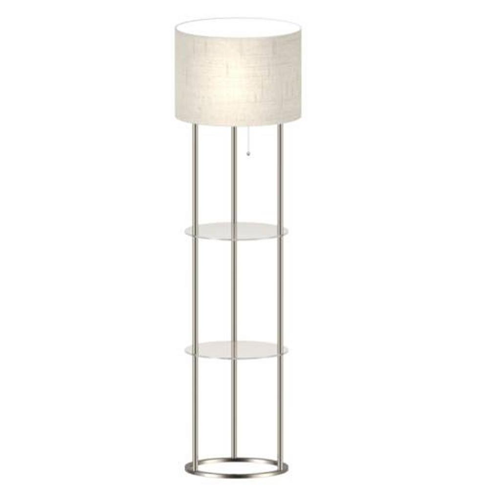 Adesso 61 in shelf floor lamp with glass shelves af42889 for Floor lamp with shelves