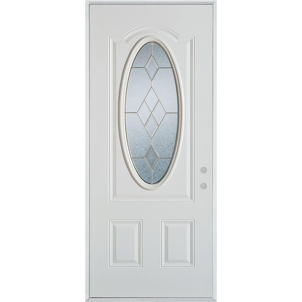 36 in. x 80 in. Geometric Brass 3/4 Oval Lite 2-PanelPrefinished White Left-Hand Inswing Steel Prehung Front Door