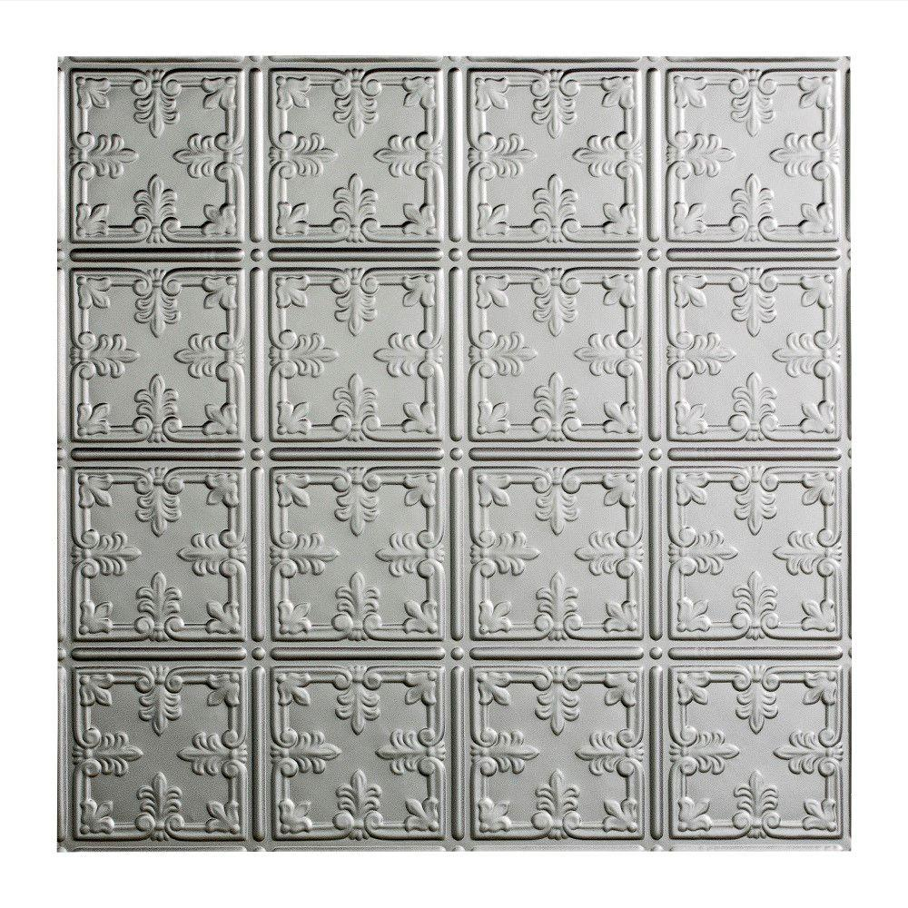 Fasade Traditional 10 - 2 ft. x 2 ft. Lay-in Ceiling Tile in Argent Silver