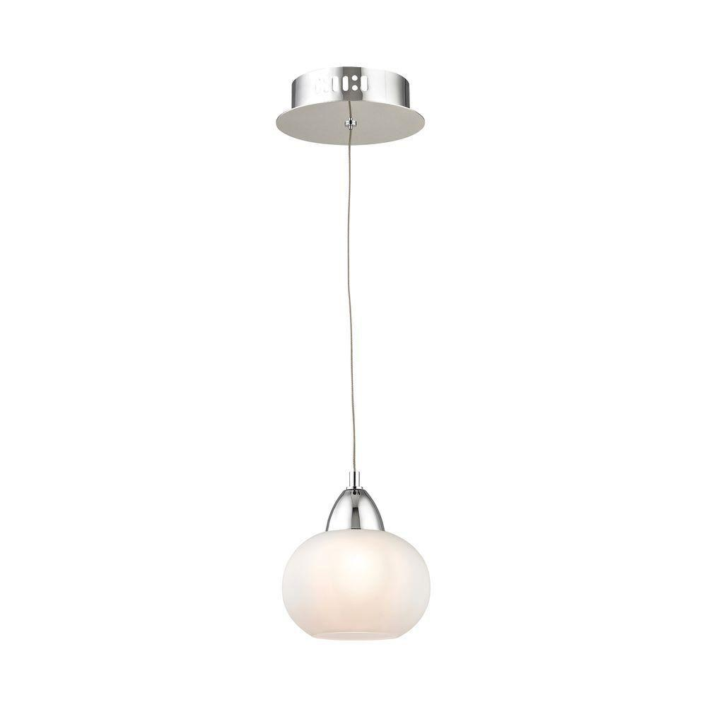 Ciotola 1-Light Chrome LED Pendant with White Glass-TN-92195 - The Home