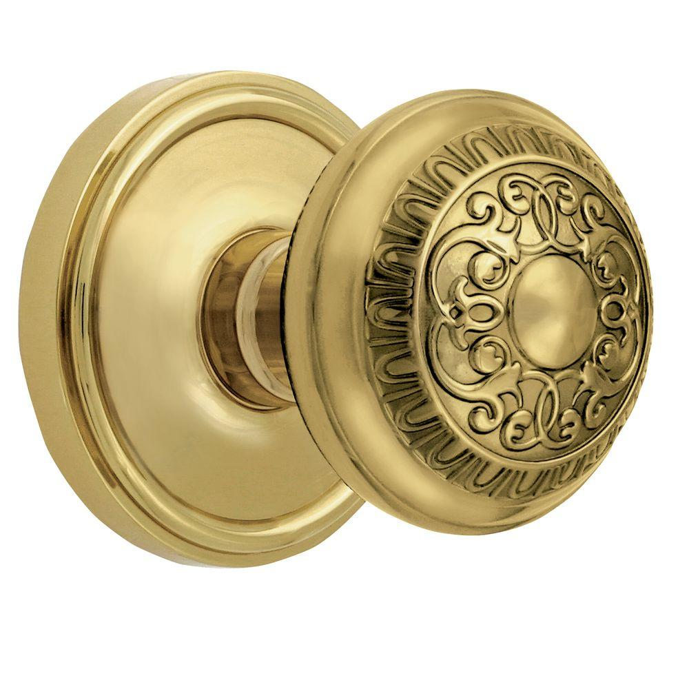 Grandeur Georgetown Rosette Polished Brass with Privacy Windsor Knob