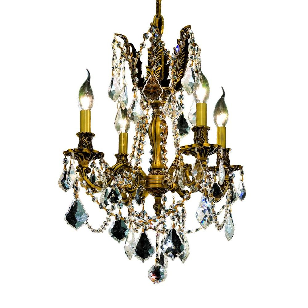 Elegant Lighting 4-Light French Gold Chandelier with Clear
