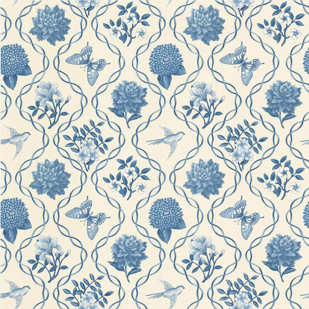 The Wallpaper Company 56 sq. ft. Blue Garden Theme Trellis Wallpaper-DISCONTINUED