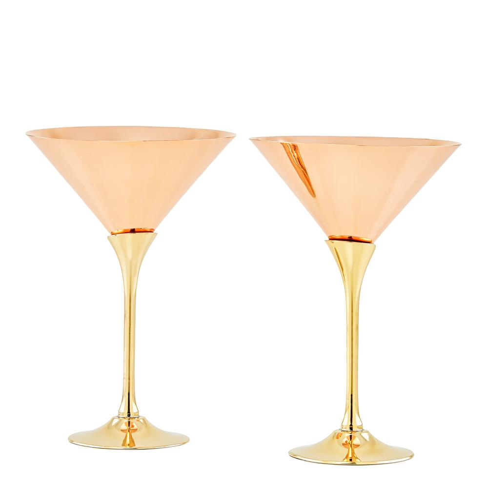 old dutch solid copper martini glasses with brass stem 2 piece set 1503 the home depot. Black Bedroom Furniture Sets. Home Design Ideas
