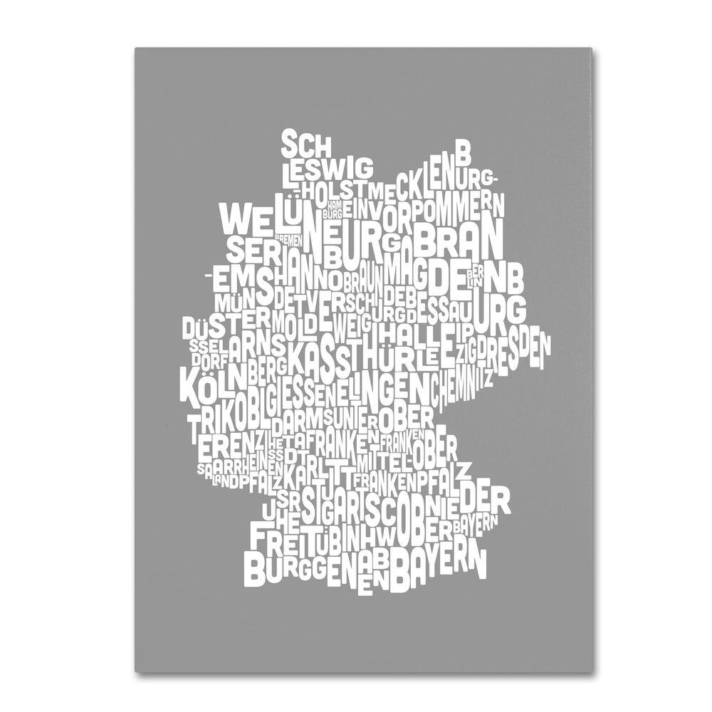 30 in. x 47 in. Germany Regions Map - Neutral Canvas
