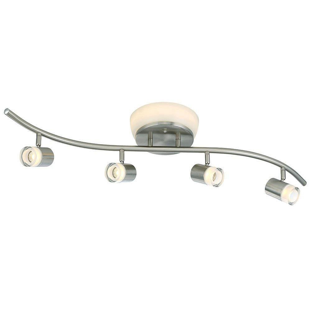 Brushed Nickel LED Ceiling Mounted Flushmount and Track Combo with Frosted