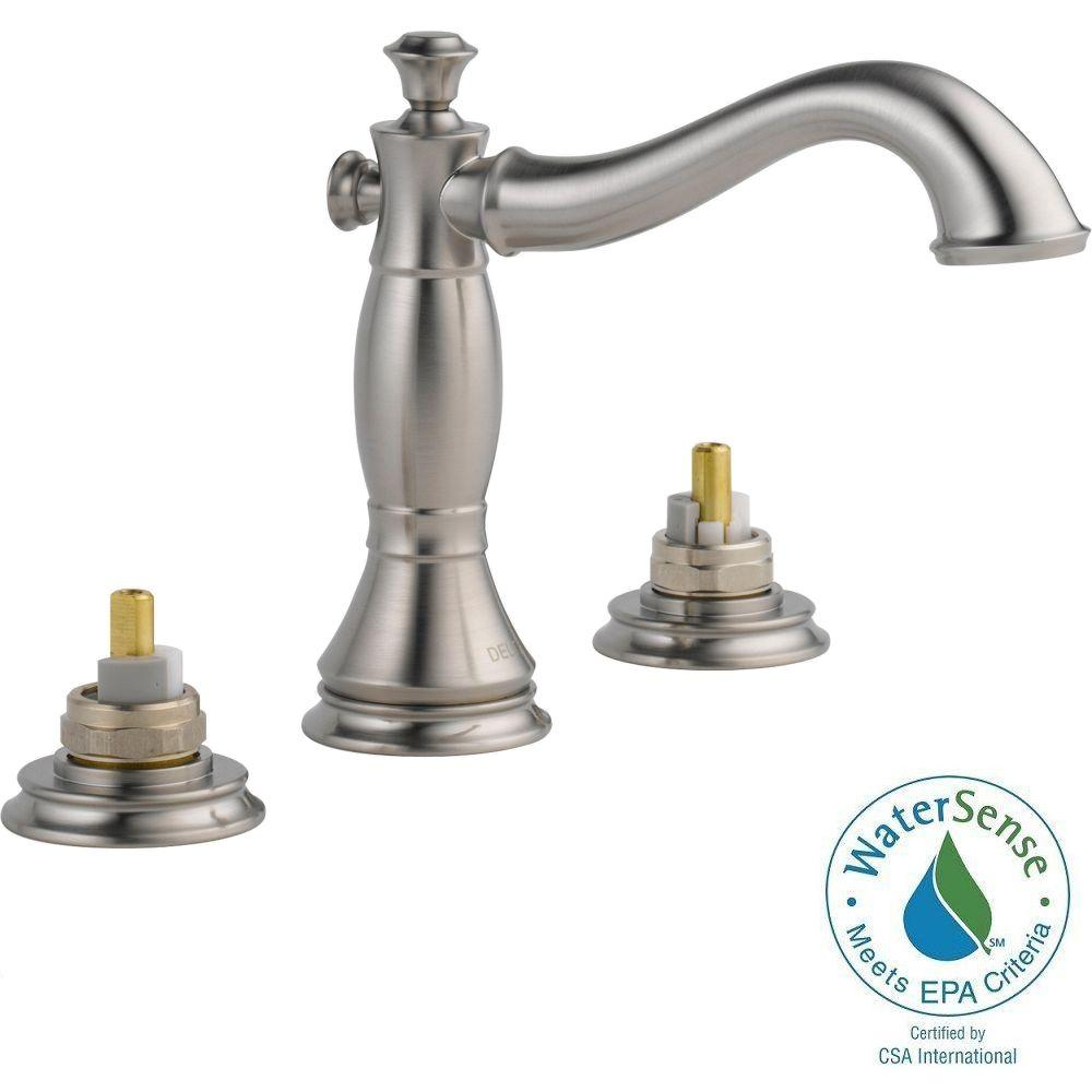 Delta Cassidy 8 in. Widespread 2-Handle High-Arc Bathroom Faucet in Stainless