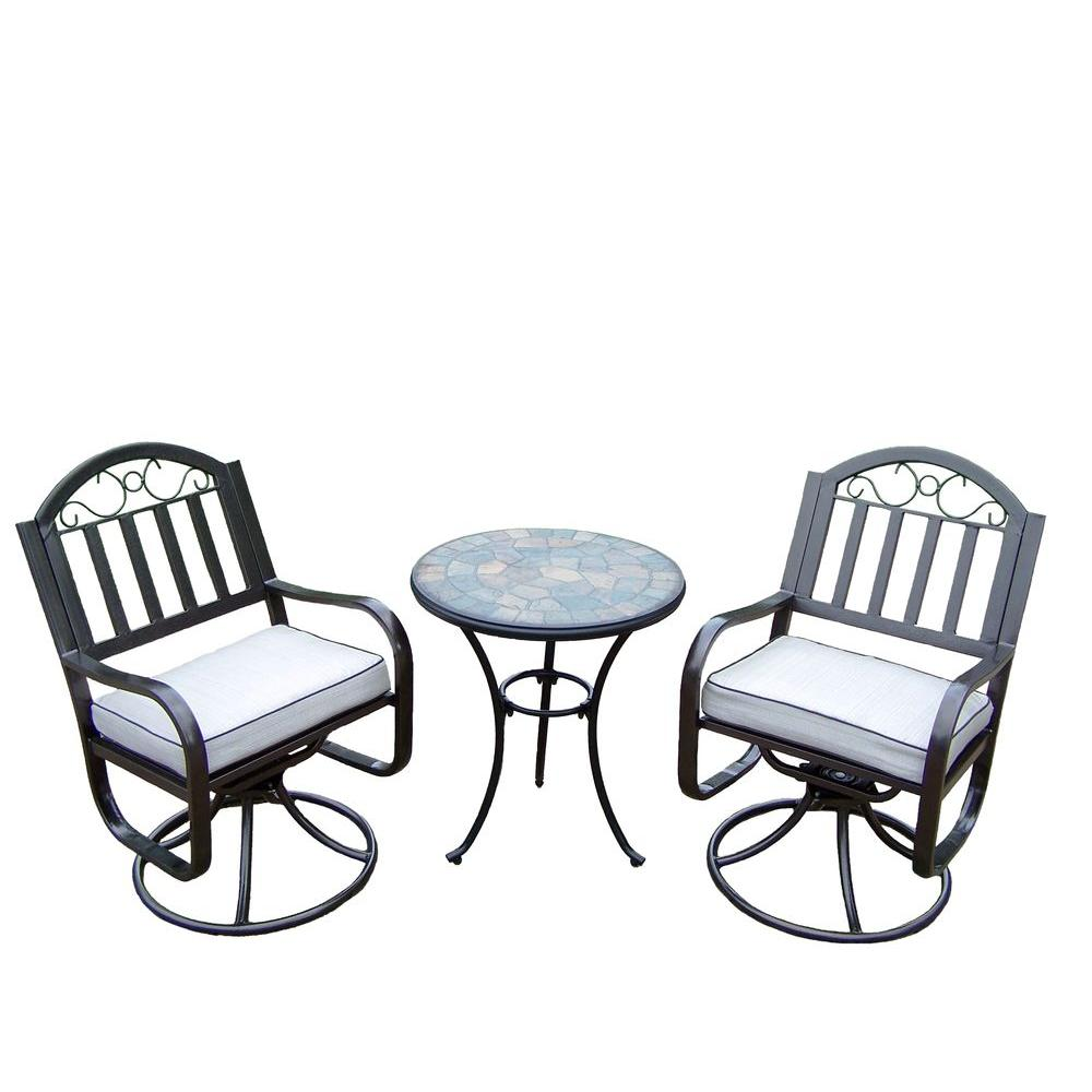 Oakland Living Stone Art Rochester 3-Piece Swivel Patio Bistro Set with Solid Cushions and 24 in. Table