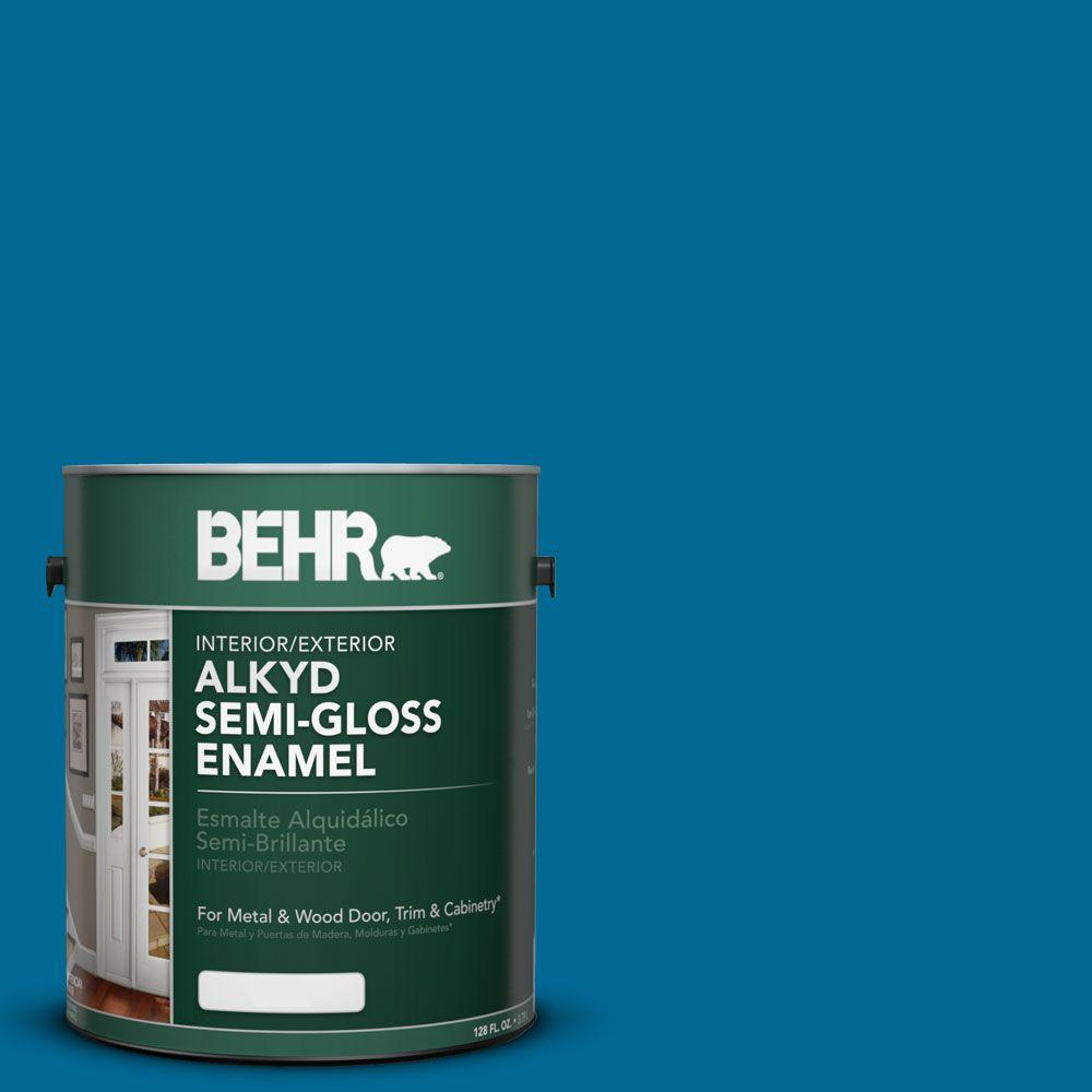 BEHR 1-gal. #OSHA 1 Safety Blue Semi-Gloss Enamel Alkyd Interior/Exterior