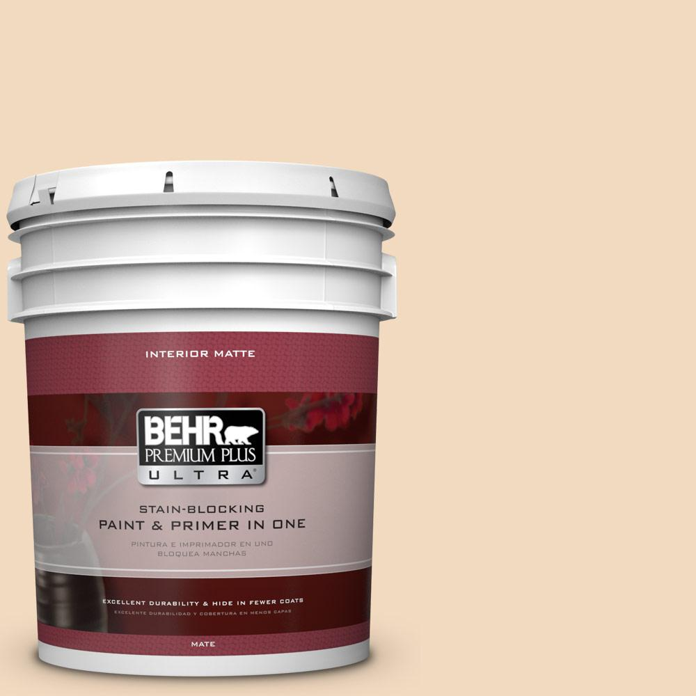 BEHR Premium Plus Ultra 5 gal. #S270-1 Frosted Toffee Matte Interior Paint