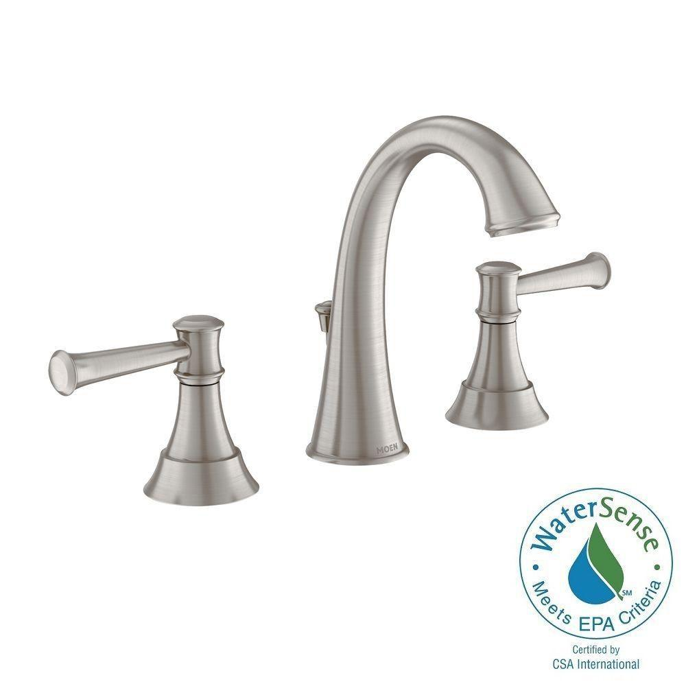 MOEN Ashville 8 in. Widespread 2-Handle High-Arc Bathroom Faucet with Microban Protection in Spot Resist Brushed Nickel