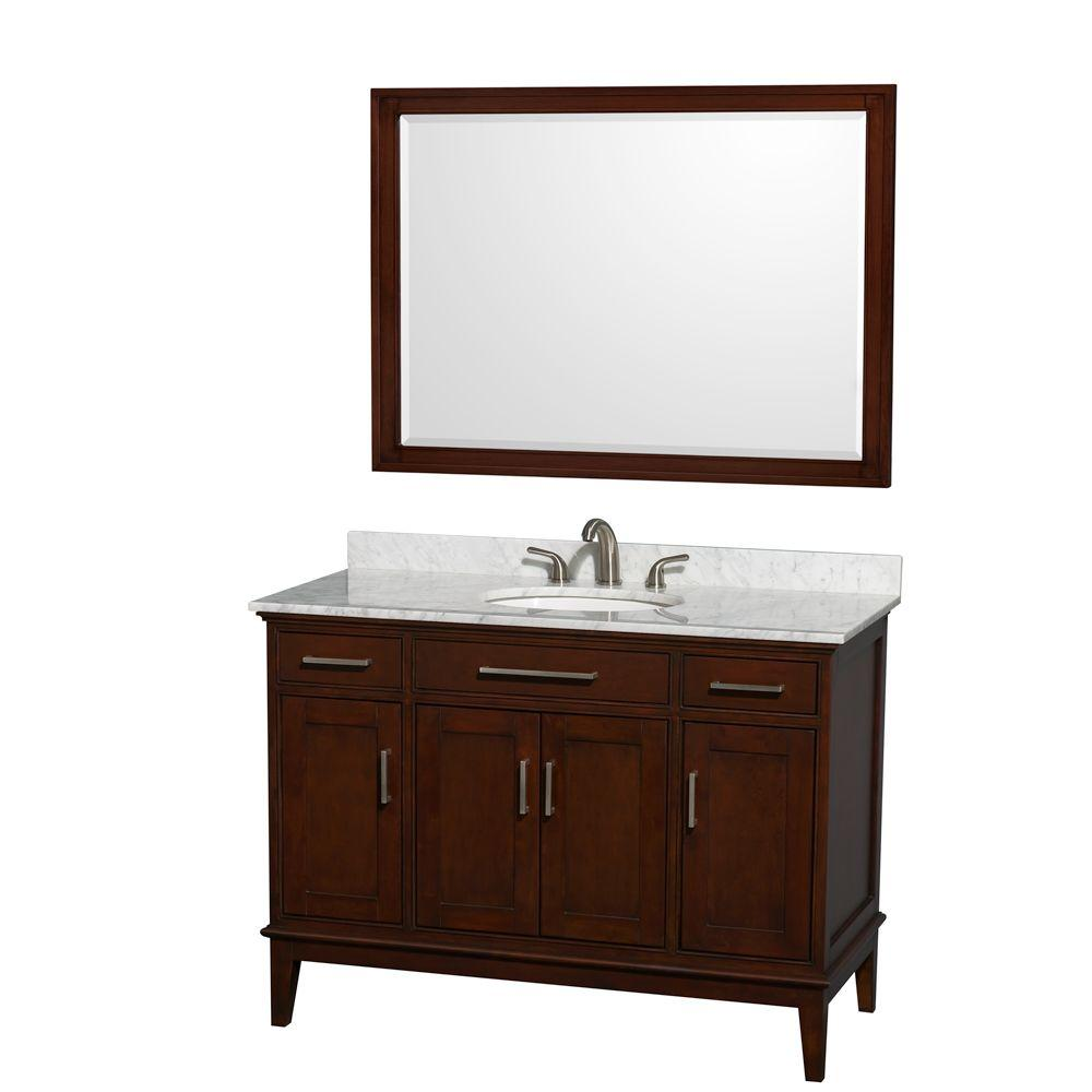 Wyndham Collection Hatton 48 in. Vanity in Dark Chestnut with Marble Vanity Top in Carrara White, Sink and 44 in. Mirror