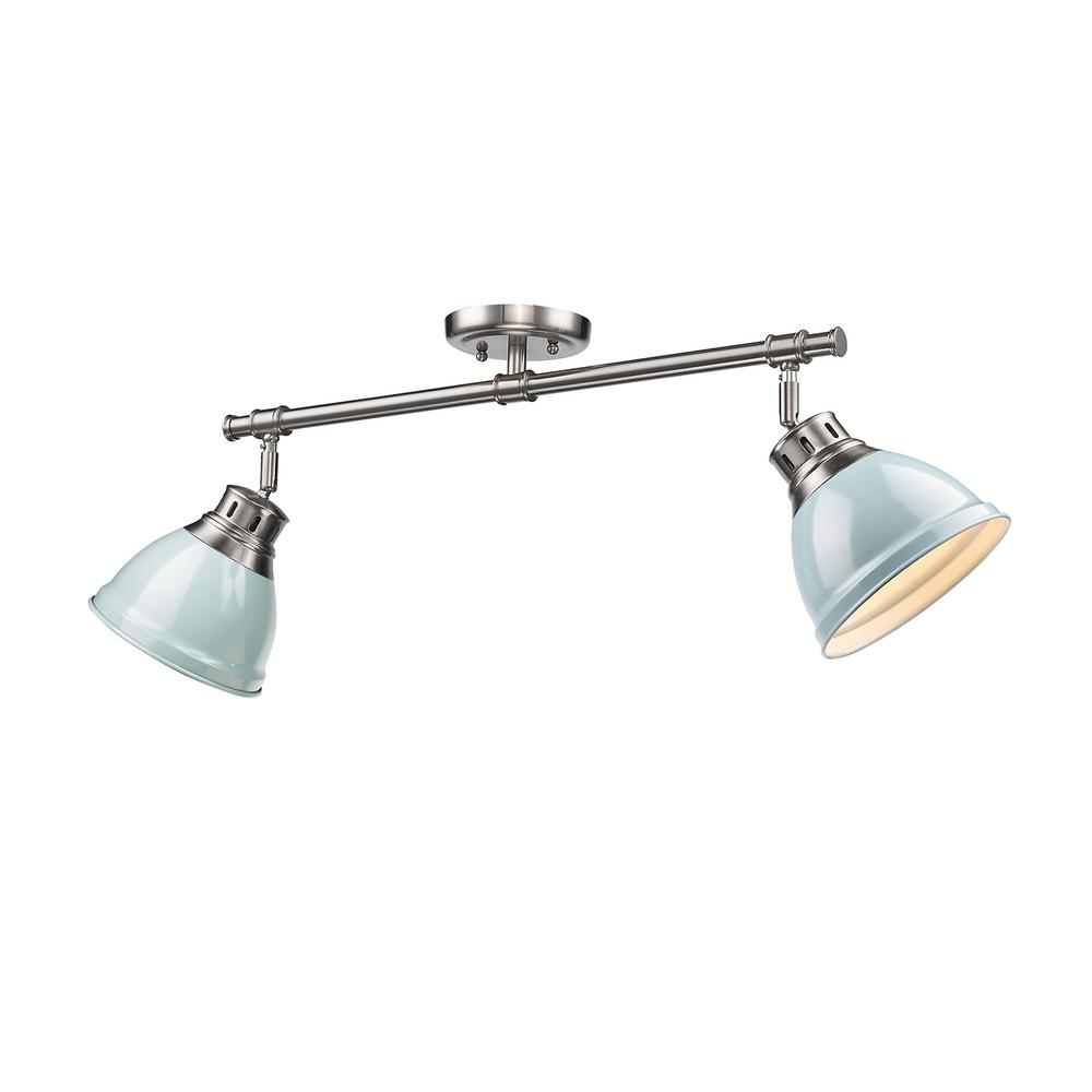 Duncan 3-Light Pewter Semi-Flushmount with Seafoam Shade
