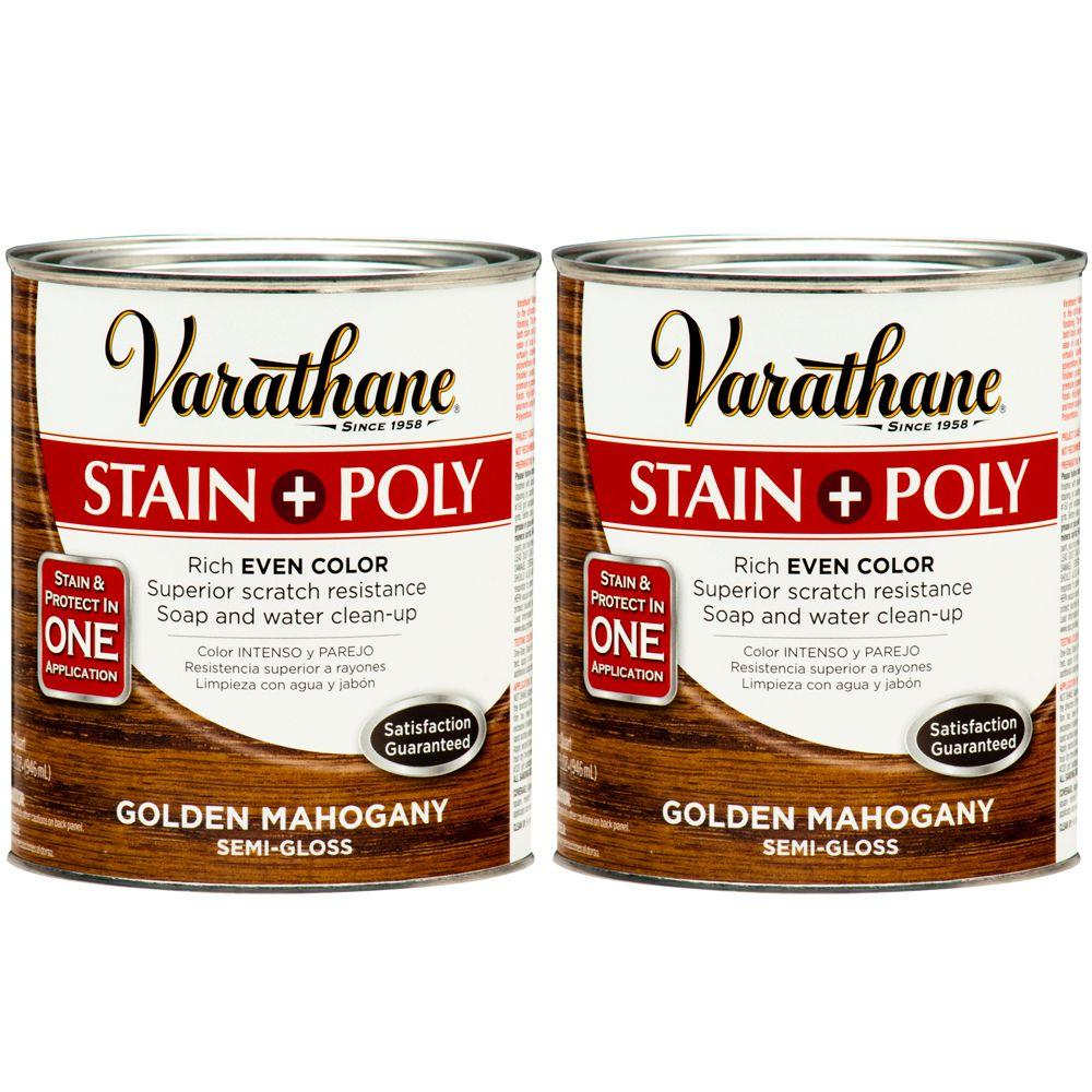 Varathane 1 Qt. Golden Mahogany Wood Stain and Polyurethane (2-Pack)-DISCONTINUED