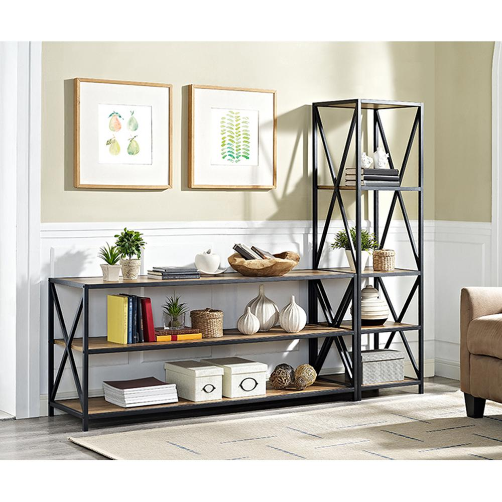 Walker Edison Furniture Company X Frame Barnwood Metal And Wood Wide Media Bookshelf Hds60xmwbw
