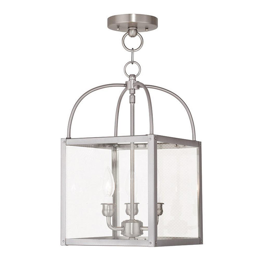 Livex Lighting Milford 3-Light Brushed Nickel Pendant-4037-91 - The Home Depot