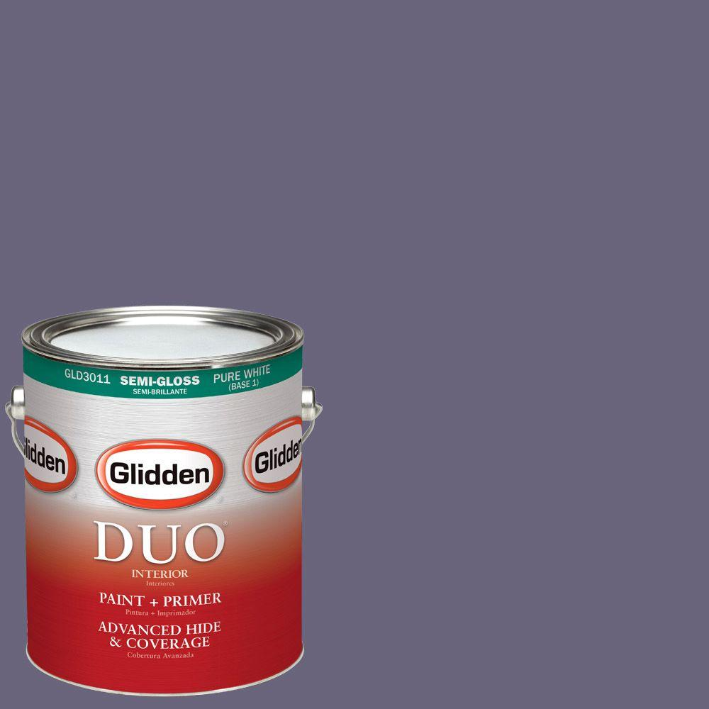 Glidden DUO 1-gal. #HDGV51D Nightshade Violet Semi-Gloss Latex Interior Paint
