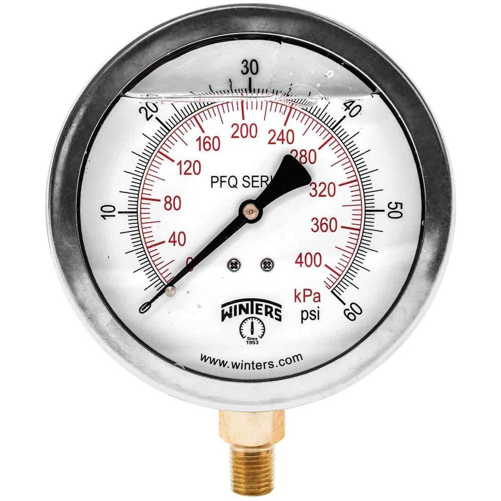 PFQ Series 4 in. Stainless Steel Liquid Filled Case Pressure Gauge with 1/4 in. NPT LM and Range of 0-60 psi/kPa