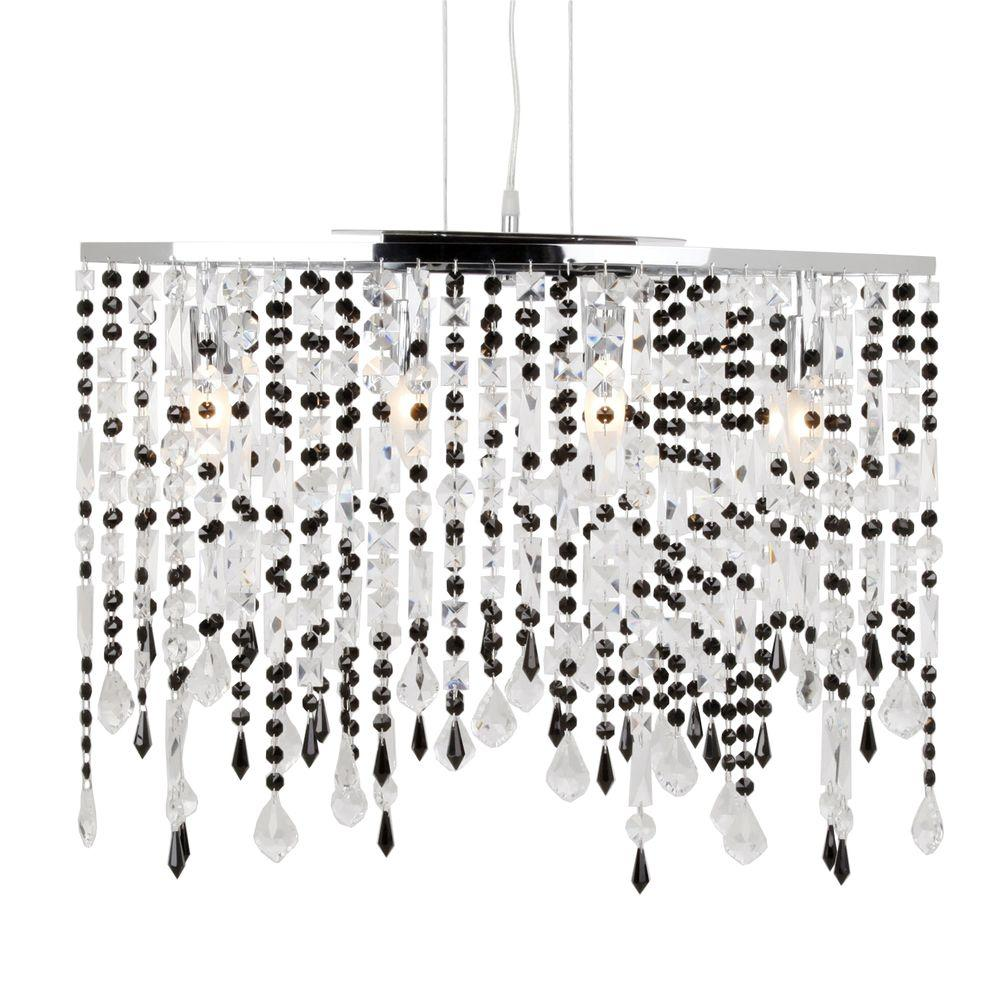 Niagara 4-Light Black and Chrome Chandelier-DISCONTINUED