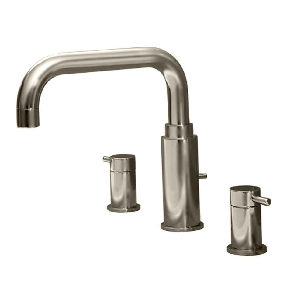 Serin 2-Handle Deck-Mount Roman Tub Faucet Less Personal Shower in Satin