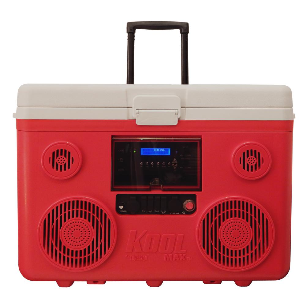 TUNES2GO KoolMax 40 Qt. Red Wheeled Cooler, Bluetooth PA System and