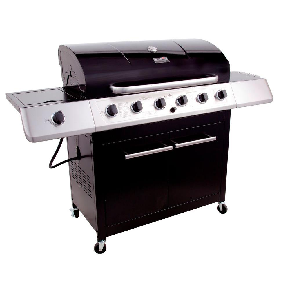 Char-Broil 6-Burner Propane Gas Grill with Side and Sear Burner in Black-DISCONTINUED