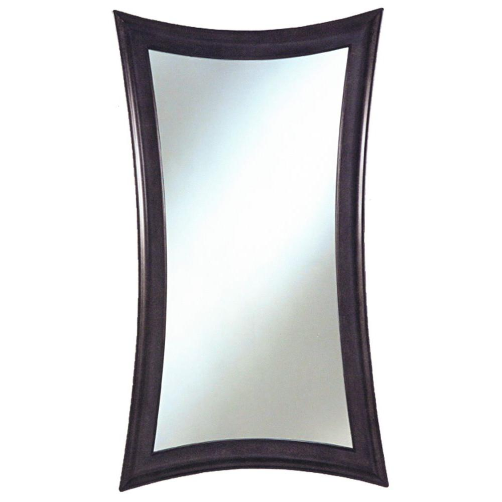 null Monte Carlo 28 in. x 45 in. Stippled Black with Grey Highlights on Curved Framed Mirror