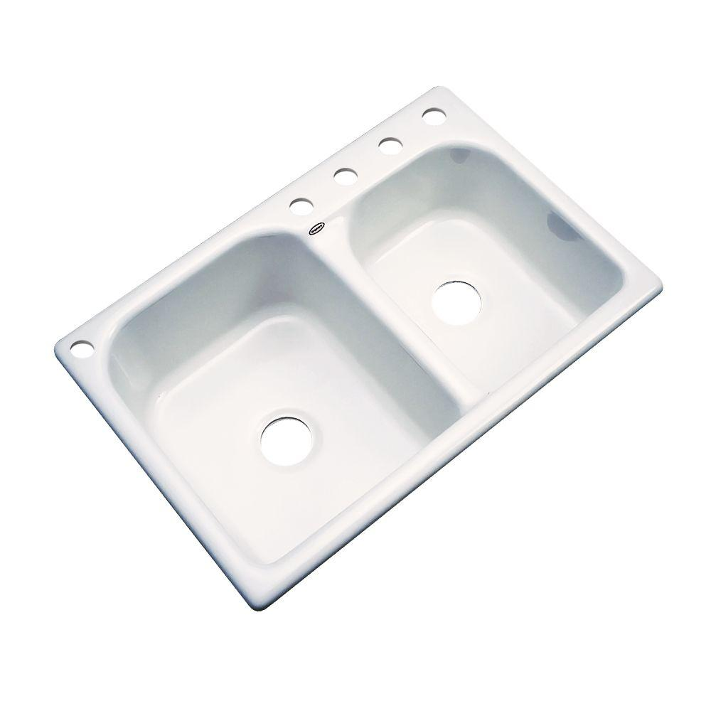 Cambridge Drop-In Acrylic 33 in. 5-Hole Double Bowl Kitchen Sink in Biscuit