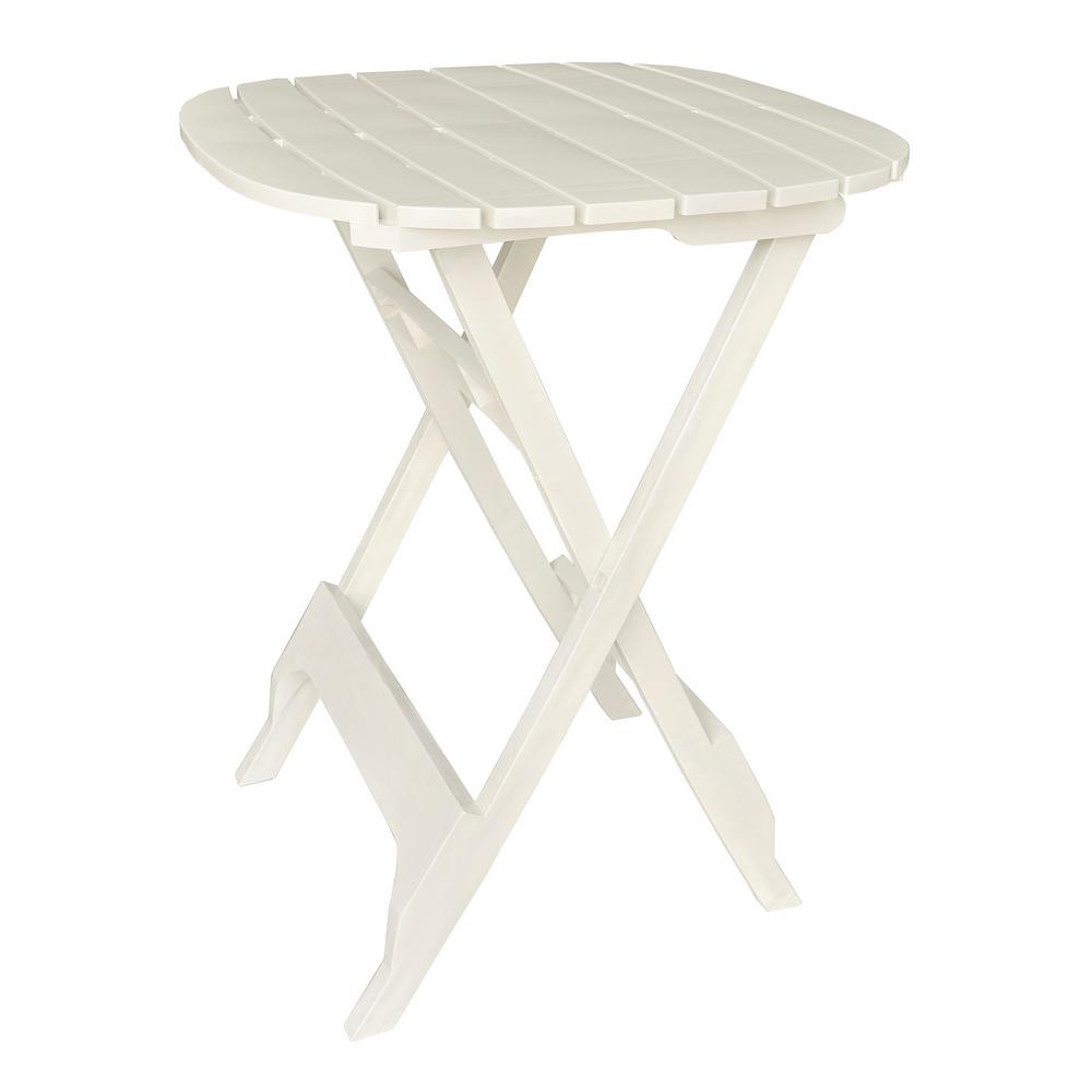 40 in. Quik-Fold White Resin Outdoor Bistro Table