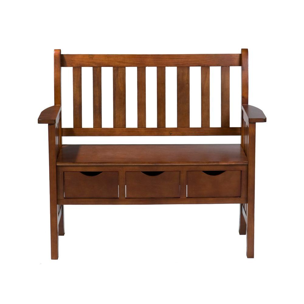 Home Decorators Collection 3-Drawer Country Bench in Oak