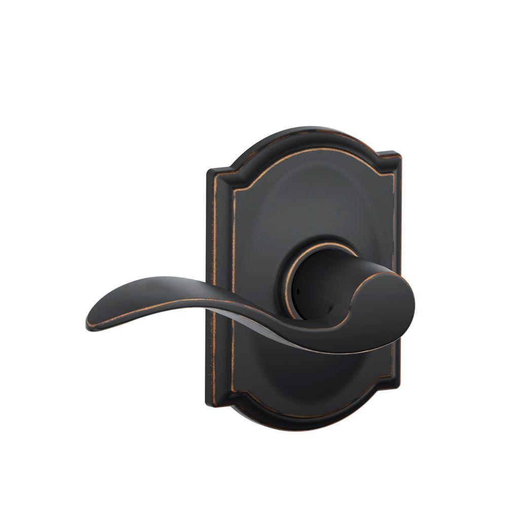 Schlage Camelot Collection Accent Aged Bronze Hall and Closet Lever-F10 V