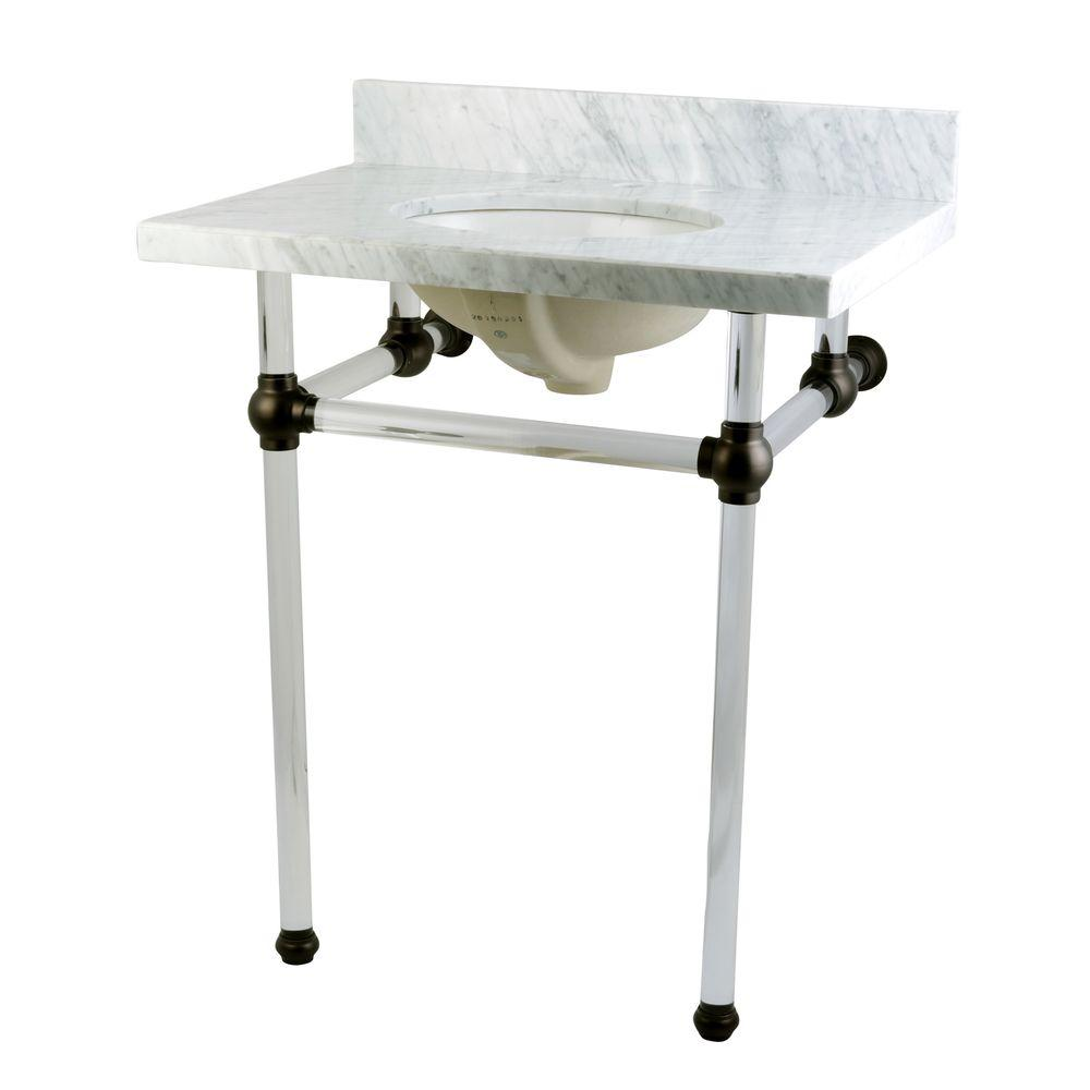 Washstand 30 in. Console Table in Carrara White with Acrylic Legs