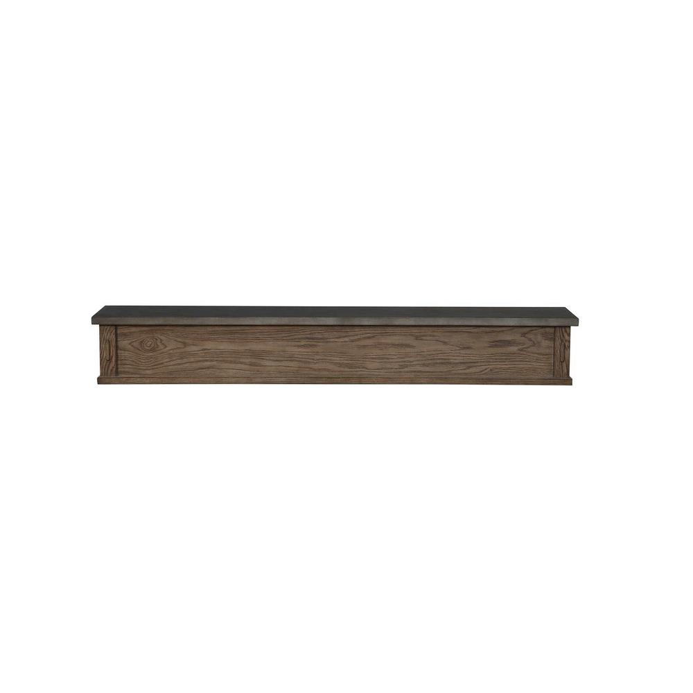 The Park West 5 ft. Oak Brownstone Distressed Cap-Shelf Mantel with