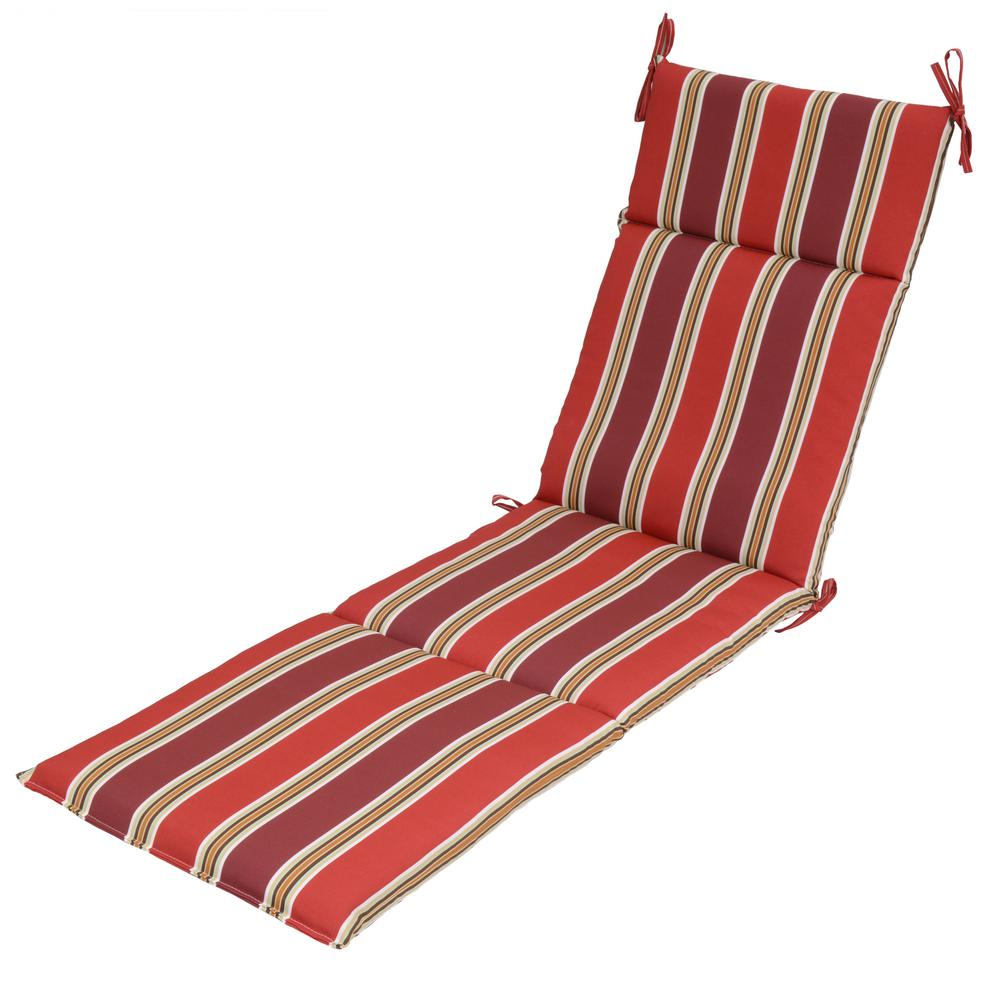Null Chili Stripe Outdoor Chaise Lounge Cushion