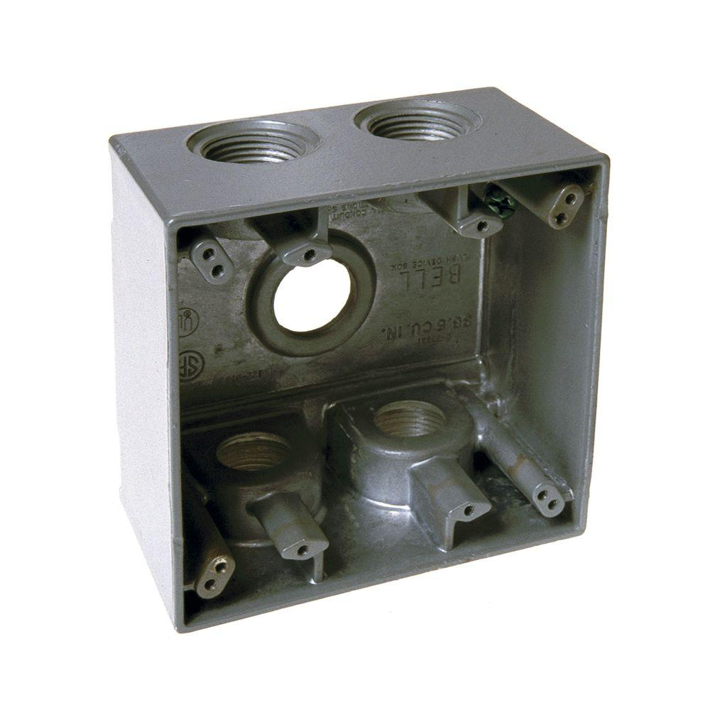 4 4 Weatherproof Electrical Box: BELL 2 Gang Weatherproof Deep Box With Five 3/4 In