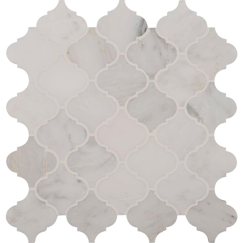 Greecian White Arabesque 12 in. x 12 in. x 10 mm