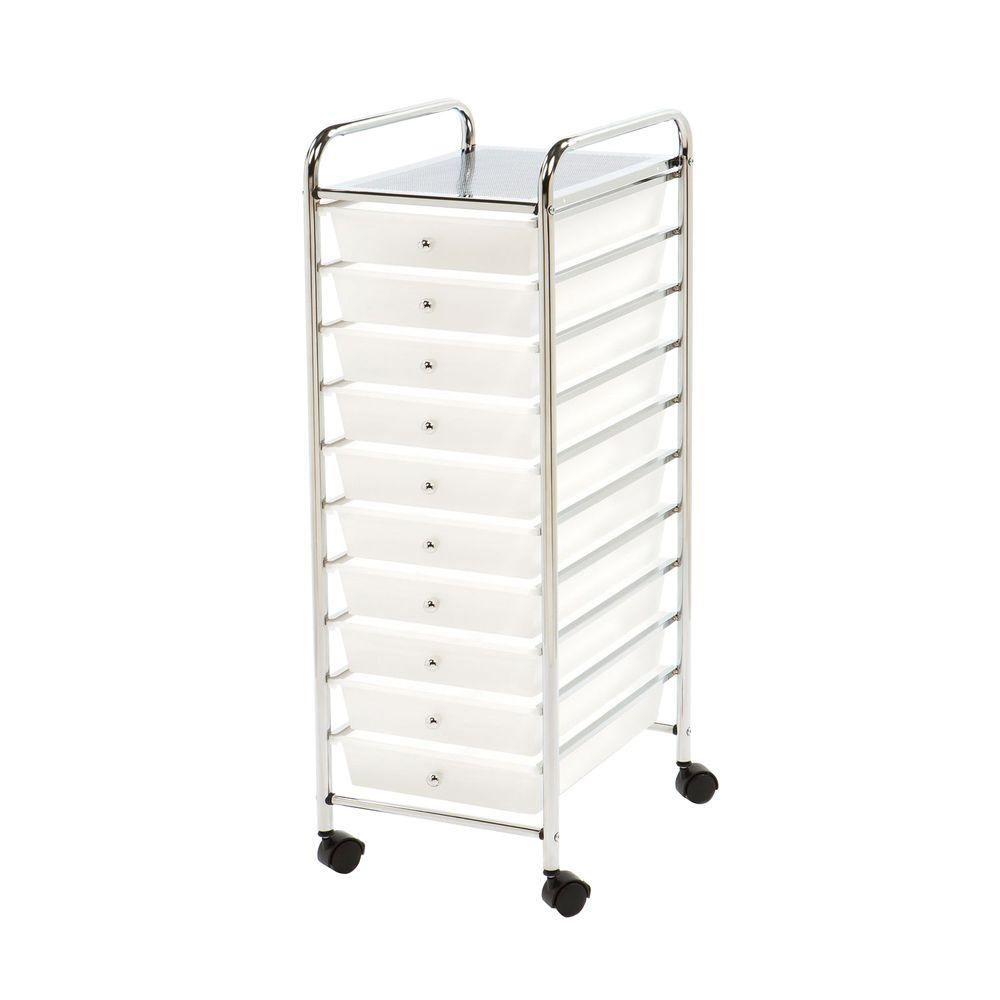 Seville Classics 10-Drawer Steel Organizer Cart in Frosted White-SHE16218WB -