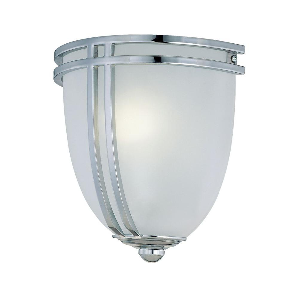 1-Light Chrome Sconce with Frost Glass