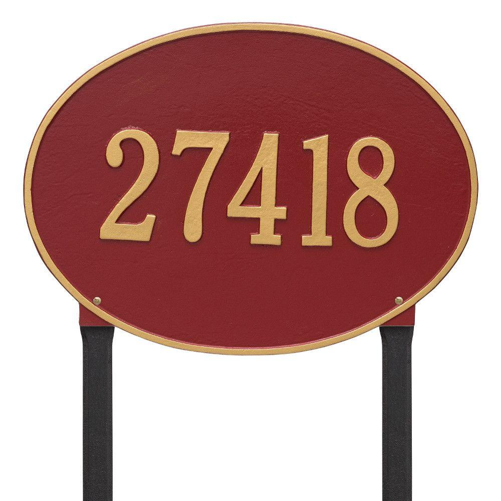 Whitehall Products Hawthorne Estate Oval Red/Gold Lawn 1-Line Address Plaque