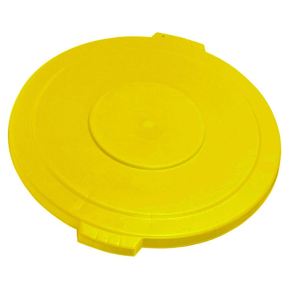 Carlisle Bronco 20 Gal. Yellow Round Trash Can Recycle Lid with