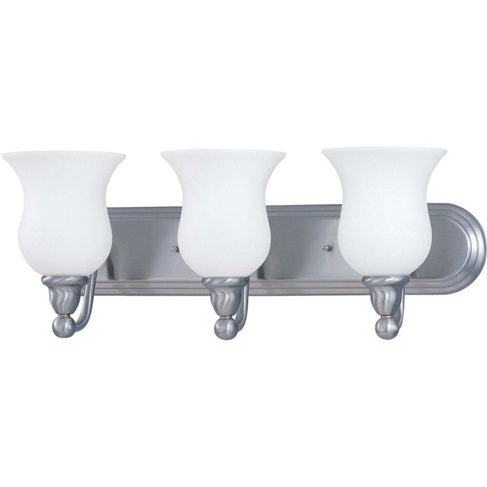 3-Light Brushed Nickel Vanity Light with Satin White Glass